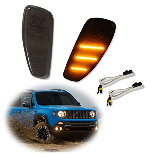 Miniclue 2pcs Smoked Lens Amber LED Lights Side Marker Turn Signal Lamps Update Compatible With Jeep Renegade 2014 2015 2016 2017 2018 2019 Maine