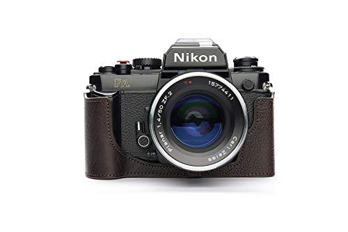 Handgemaakte Echt Lederen Half Camera Hoesje Hoes voor Nikon FA, Koffie