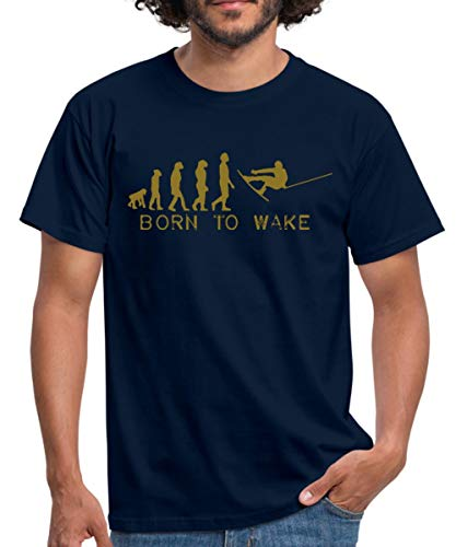 Born to Wake, Evolution, I Love My Wakeboard, Wakeboarder, Wakeboarding, Kiteboard, Skateboard, Snow Männer T-Shirt, M, Navy
