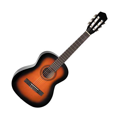 Calida Benita 1/2 Konzertgitarre - Akustikgitarre mit 18 Bünden - Geeignet für Kinder im Alter von 6-8 Jahren - Bundmarkierung - Nylonsaiten - Mensur: 53 cm - 875mm Gesamtlänge - Sunburst