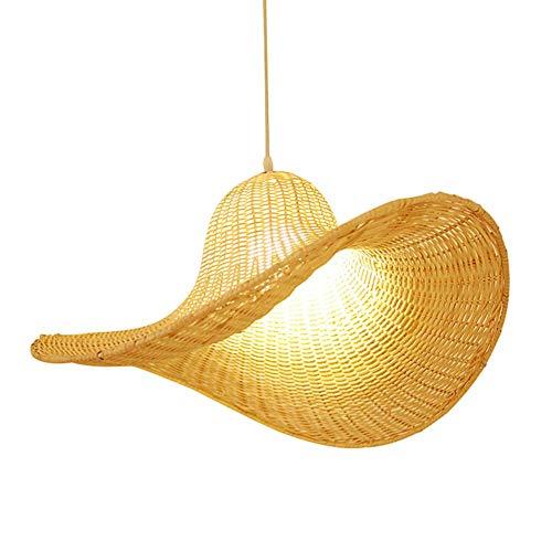 XCY Natural Bambú Sombrero Colgante Lámpara Mano trenzada Cagida Vintage Linterna Linterna Linterna Linterna E27 DIY Mimbre Ratán Pantalla Papa Mesa de comedor Cafetería Cocina Lámparas de techo