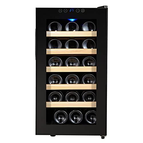 Cantinetta Vini, Refrigeratore Vini con Porta in Vetro, Vetrina Vino, 10-18 °C, Display LCD, Illuminazione Interna a LED, Controllo Touch, Nero, 18 Bottiglie