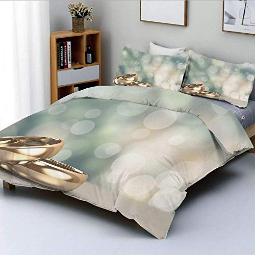 Zozun Duvet Cover Set,Two Wedding Engagement Rings on Bokeh Abstract Background Decorative 3 Piece Bedding Set with 2 Pillow Sham,Gold Pale Green Blue,Best Gift for Kids & Adult
