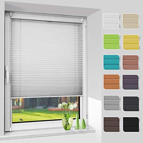 Plissee ohne Bohren, Klemmfix Jalousie Plisee Rollos (Grau, B50cm x H120cm) Faltrollo Plisseerollo Blickdicht Sichtschutz und Sonnenschutz für Fenster & Tür