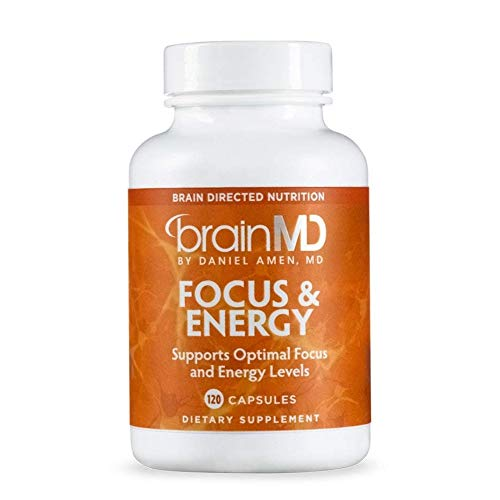 Dr. Amen brainMD Focus & Energy - 120 Capsules - Mental Endurance Booster, Promotes Concentration & Attention, Supports Healthy Stress Response - Caffeine-Free, Gluten-Free - 30 Servings