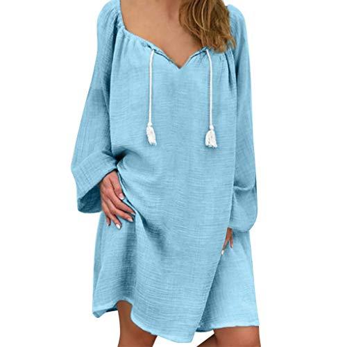 HX fashion Damskie sukienki w dużych rozmiarach z dekoltem w serek lniane sukienki damskie wygodne rozmiary letnie sukienki do kolan sukienka z długim rękawem sukienka koszulowa sukienki monochromatyczne luźna tunika sukienka boho sukienki plażowe