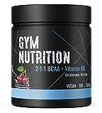 GYM-NUTRITION® — BCAA + VITAMIN B6 – Amino-Säuren hochdosiert, vegan – Leucin, Isoleucin, Valin – 2:1:1 Aminosäure-Pulver – Made in Germany –KIRSCHE