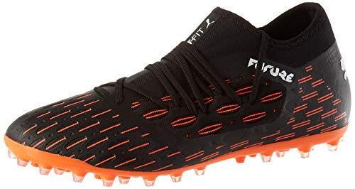 PUMA Herren Future 6.3 Netfit Mg Fußballschuh, Black White-Shocking Orange, 44.5 EU