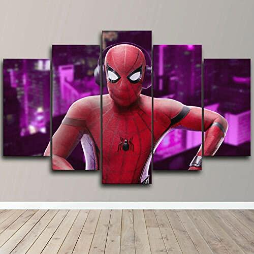 Impresiones sobre Lienzo Spider Man Escuchando Música 5 Cuadros En Lienzo Modernos Salón Decoracion Murales Pared Lona XXL Grande Hogar Dormitorios Arte Pared HD Impresión Foto