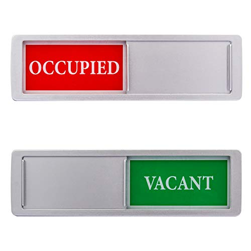 Privacy Sign - Vacant Occupied Sign for Home Bathroom Office Restroom Conference Hotel Hospital, Easy to Read Non-Scratch Magnetic Slider Door Indicator Sign with Clear, Bold & Colored Text - Silver