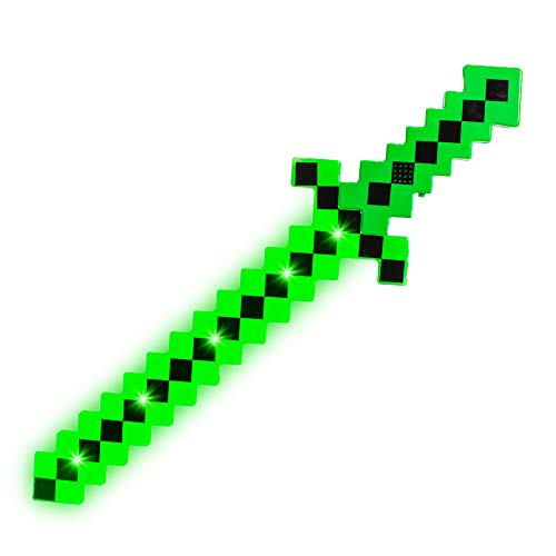 Fun Central LED Light Up Pixel 8-Bit Toy Sword for Kids - Green