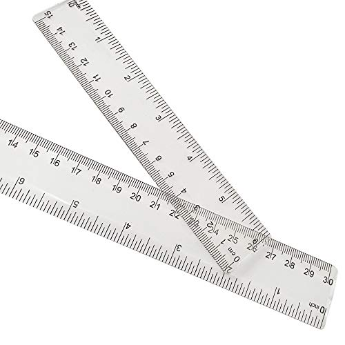 2 Pack Plastic Ruler Straight Ruler Clear See...