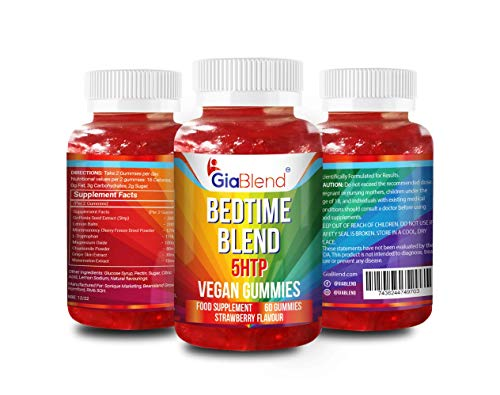 GiaBlend Premium Bedtime Blend Gummies with 5HTP & Lemon Balm Relaxing - Vegan, Non GMO & Gluten Free
