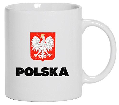 Wappen Polska Poland Warschau Länder bedruckte Kaffeetasse Bürotasse mit Spruch Motiv Flagge Polen, Größe: onesize,Weiß