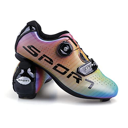 Femenino Zapatillas de Ciclismo Decoloración Zapatillas de Bicicleta de Carretera de Parejas Moda Antideslizantes Transpirables de Carretera con Hebilla de Giro Rápido y Caja de Zapatos 40