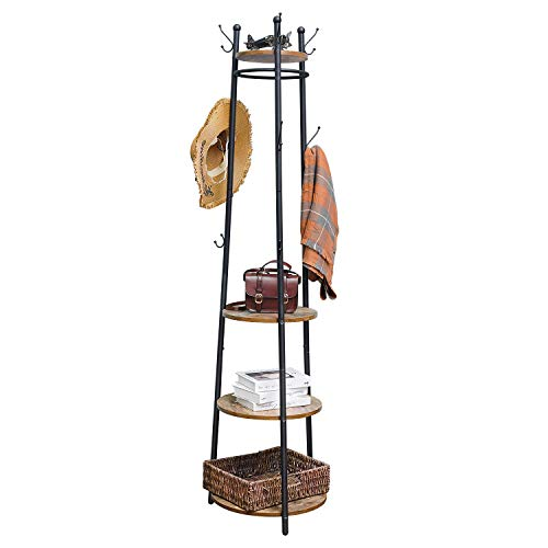 X-cosrack Coat Rack Stand with 4 Shelves, Industrial Entryway Free Standing Coat Hat Tree with 9 Hooks, Hall Tree Garment Storage Holder for Clothes Hats Umbrellas Bag