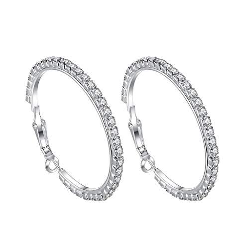 LABIUO Damen Ohrringe, Klassische Voller Diamant Runde Große Ohrringe Schmuck Geschenke für Freundin/Frau/Mutter/Tochter(C,Einheitsgröße)