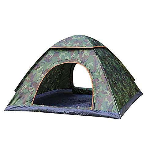 Linahealth Casa de Campaña 4 Personas para Acampar Impermeable Tienda de Campaña Térmica (Camoflaje-Verde Militar)