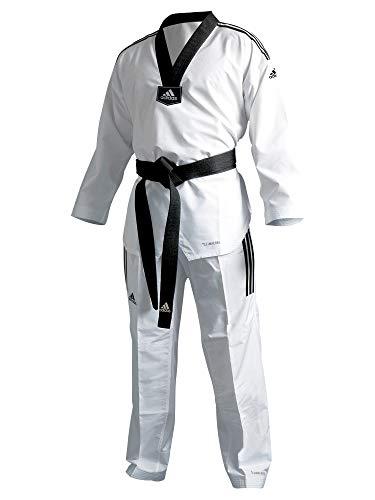 Adidas Adi Fighter Eco - Tuta da Taekwondo, a strisce, colore: Nero (150)