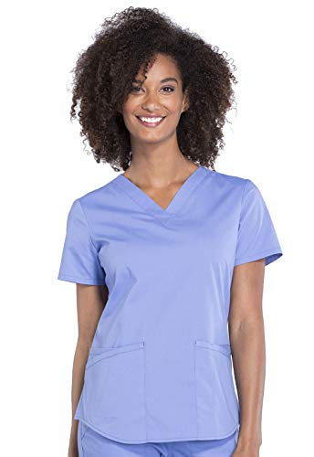 Workwear Professionals Women Scrubs Top V-Neck WW665, S, Ciel Blue