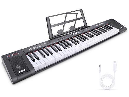 Digital Piano Teclado Musical Teclado de Piano Digital Teclado Electrónico Portátil con 61 teclas, Soporte de Música, 200 Tonos, 200 ritmos, 60 Demos para Principiantes