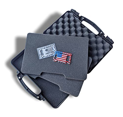 SOCOM Black - Cedar Mill Firearms Pick and Pluck Foam Hard Lockable Pistol Gun Case for Carrying 9mm Handguns & Revolvers Airline TSA Approved Flight Travel Safe non Waterproof +Storage