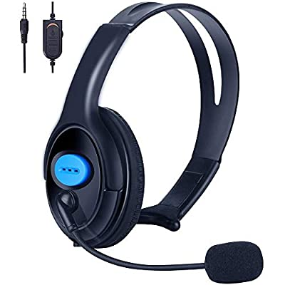 PS4 Unilateral Headset, Joso 3.5mm Wired Traffic Chat Online Gaming One Ear Headphone with Microphone for Playstation 4, PS4 Pro, PS4 Slim, Nintendo Switch, Laptop, Xbox One S X(Extra Adapter Needed)