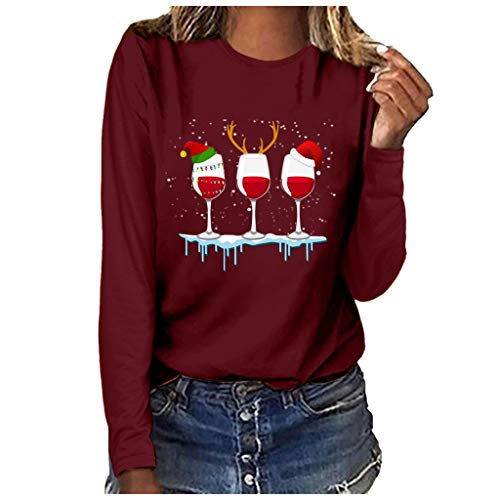 Womens Tops 2020 Christmas Wine Glass Print O-Neck Long Sleeve Shirts Pullover Sweatshirt Casual Blouses(L,Red)