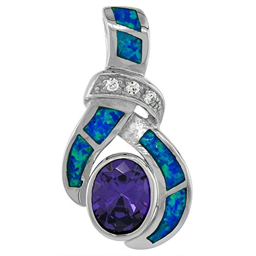 Sterling Silver Synthetic Opal Pendant for Women Hand Inlay Amethyst CZ 7x9 mm Oval 1 1/8 inch Long