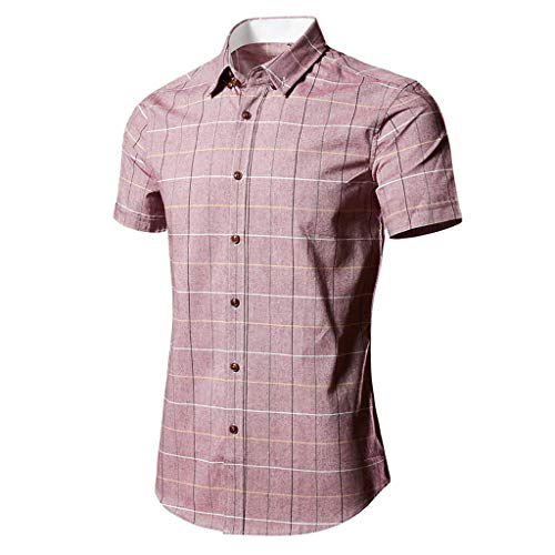 Herren Hemd Kurzarm Slim Fit herrenhemd freizeithemd karohemd Lässige Sommer Hemden T-Shirt stehkragenhemd oberhemden bügelfreie CICIYONER