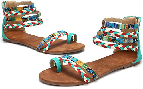 gracosy Sandalias Planas Mujeres Bohemia Tobillera Correa Redonda Peep Clip Punta Zapatos Gladiador Correa Tanga Flip Flop Zapatos de Playa cuña Zapatos Huecos de la Cremallera Azul 2019