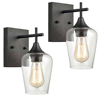 Industrial Glass Wall Sconces Lighting 2-Pack Bathroom Vanity Light Matte Black Finish