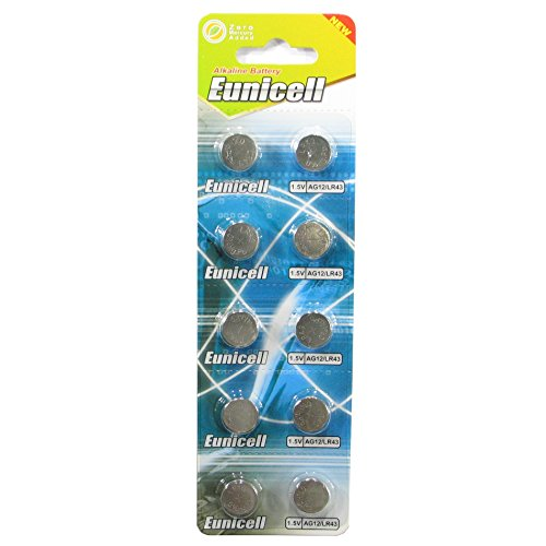 10 Eunicell AG12 / LR43 / 186/386 Button Cell 1.5V Battery Long Shelf Life 0% Mercury (Expire Date Marked)