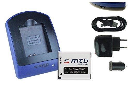 Akku + Ladegerät (Netz+Kfz+USB) für Panasonic DMW-BCN10 / Lumix DMC-LF1 / Leica BP-DC14 / Leica C (Typ 112)