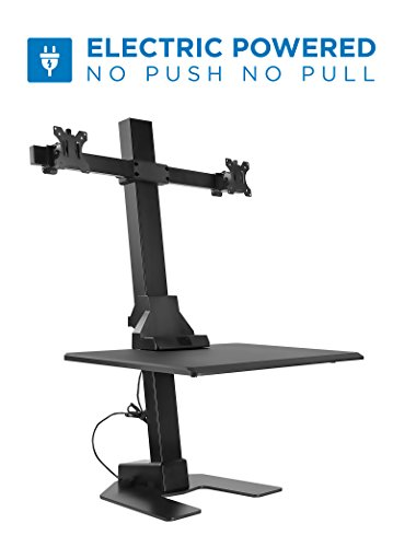 Mount-It! Electric Standing Desk Converter, Motorized Sit Stand Desk with Dual Monitor Mount and iPhone/Tablet Slot, Ergonomic Height Adjustable Workstation, Black (MI-7952)