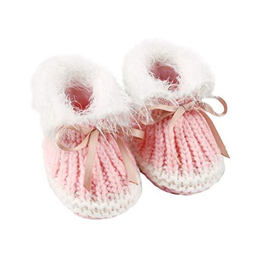 Fenical Babyschuhe Schuhe gestrickte Babyschuhe Herbst Winter Prewalker Schuhe für Babys Kleinkinder Kleinkind (Rosa 0-6 Monate alt)
