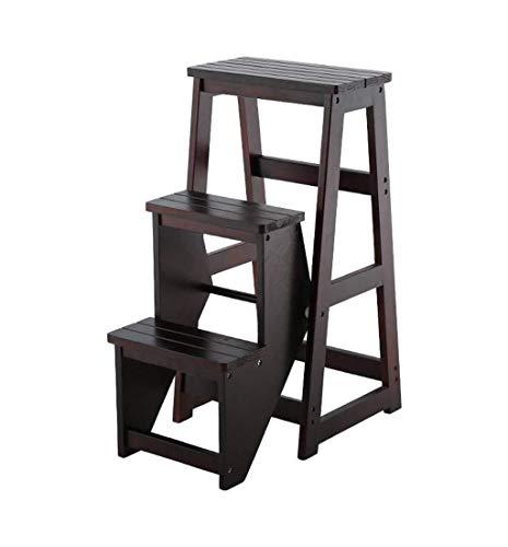 NYDZDM Escalera de Madera sólida Creativo Biblioteca Escalera del Taburete multifunción Voltear Diseño Plegable Escalera Plegable Silla Plegable Cocina Sala Modificar Estar con 3 Pasos (Size : C)