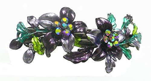 Crystal Flower Barrette YY86800-11purple by Bella