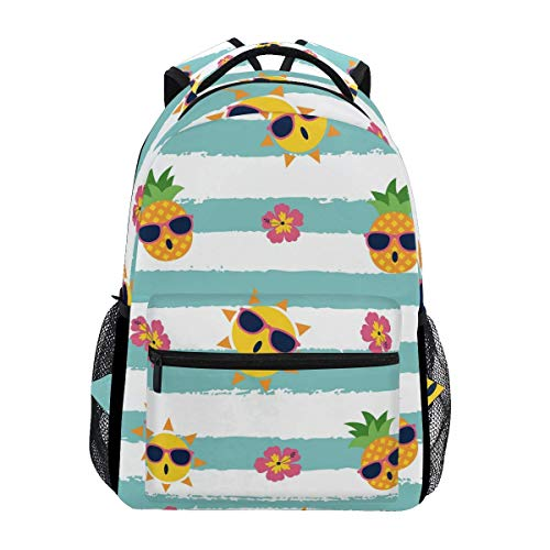 poiuytrew Pineapple and Sun with Glasses Backpack Students Shoulder Bags Travel Bag College School Backpacks