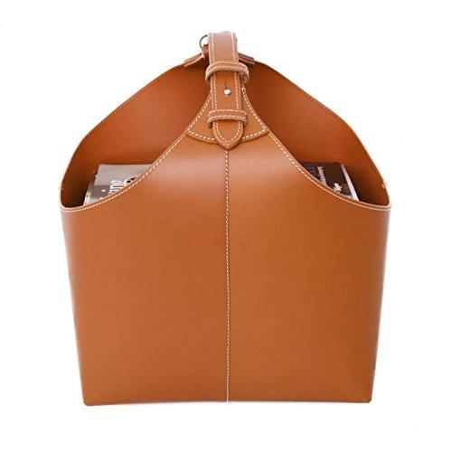 Ørskov & Co. - Leder Magazin Box mit praktischem Tragegriff - moderner Zeitschriftenkorb, handgemacht - Cognac
