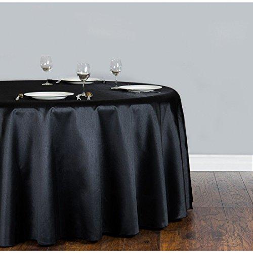 Tischdecke, Leinen, 132 cm, Schwarz Tischdecke, Shantung-Seide, rund