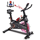 MBB Indoor Exercise Bike Stationary 35 LBS Flywheel,450 LBS Super Support, LCD Display Monitor Tablet Mount Comfortable Seat Cushion Cardio Workout Spin Bike Training Cycling Belt Quiet and Smooth