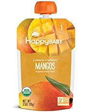 Happy Baby Organic Clearly Crafted Stage 1 Baby Food, Mangos, Resealable Baby Food Pouches, Fruit & Veggie Puree, Organic Non-GMO, Gluten Free, 99g Pouch