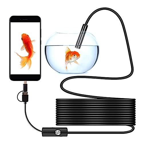 WWMH Endoscope 3 en 1 USB/Type-C Cámara de Inspección Industriales HD Boroscopio Cámara de Inspección 6 LED con Impermeable IP67 para Android/Windows/Macbook OS,Negro,5M