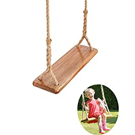 nobrand Tree Swing Seat Hanging Wooden Tree Swings for Children Adult Kids Garden,Yard, Indoor, Elm Wood Durable Can Withstand 440IB,Adult Swings and Kide Swings