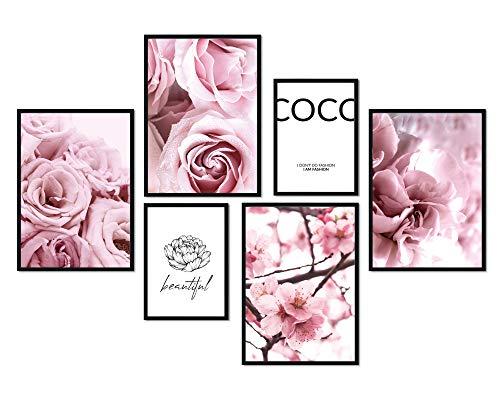 bilderreich Premium Poster Set Coco Blüten und Blumen | Deko Bilder Wohnzimmer Modern | Schlafzimmer Bild für die Wand | ohne Rahmen | 4X DIN A4 und 2X DIN A5