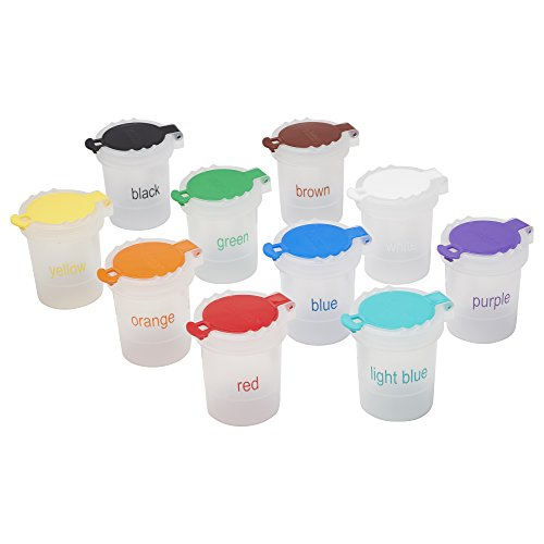 ECR4Kids Large Trilingual No Spill Paint Cups with Lids - Educational Art Supplies for Kids and Toddlers (10-Piece Set)