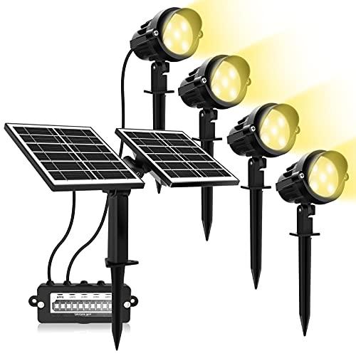 MEIKEE Luces Solares Exterior 4 en 1 Luz de Paisaje con Caja de Conexiones y Pico, Doble Panel Solar 4W/6V, Impermeable IP66 para Jardín, Césped, Camino,Terraza, Blanco frío 3000K, Cable de 5m