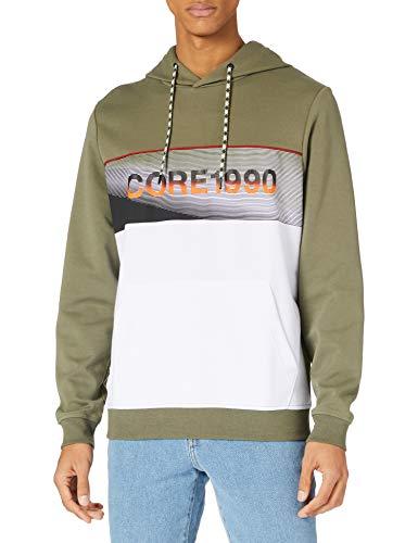 JACK & JONES Jcojenson Sweat Hood Ltn Sweatshirt Capuche, Vert Lichen, L Homme