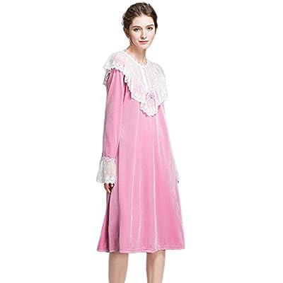 SINGINGQUEEN Women Velvet Nightgown Vintage Victorian Nightdress PrincessPajamas Sleepwear Robe Lougewear